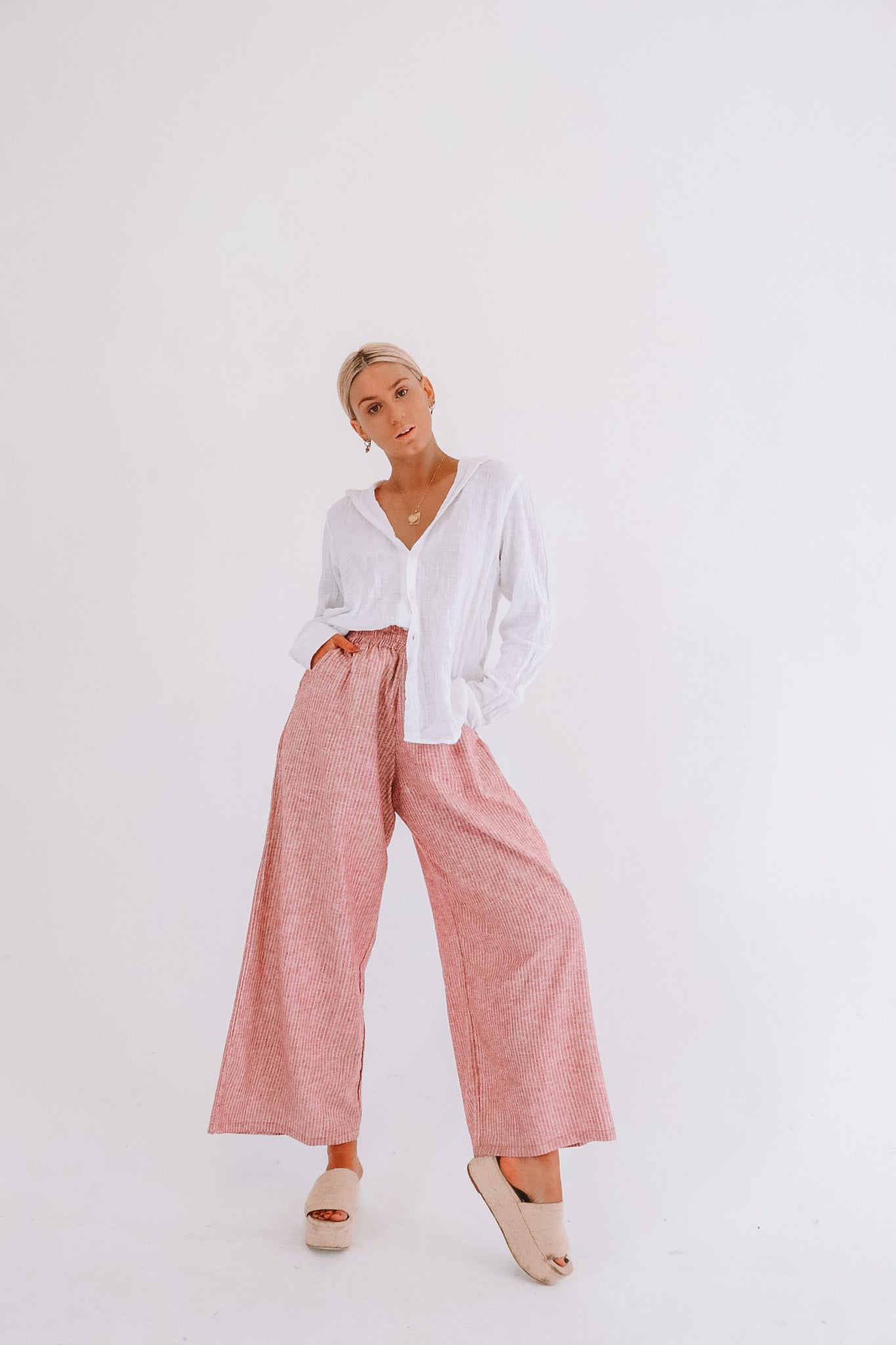 The Organic Cotton Hemp Zephyr Pants in Ruby