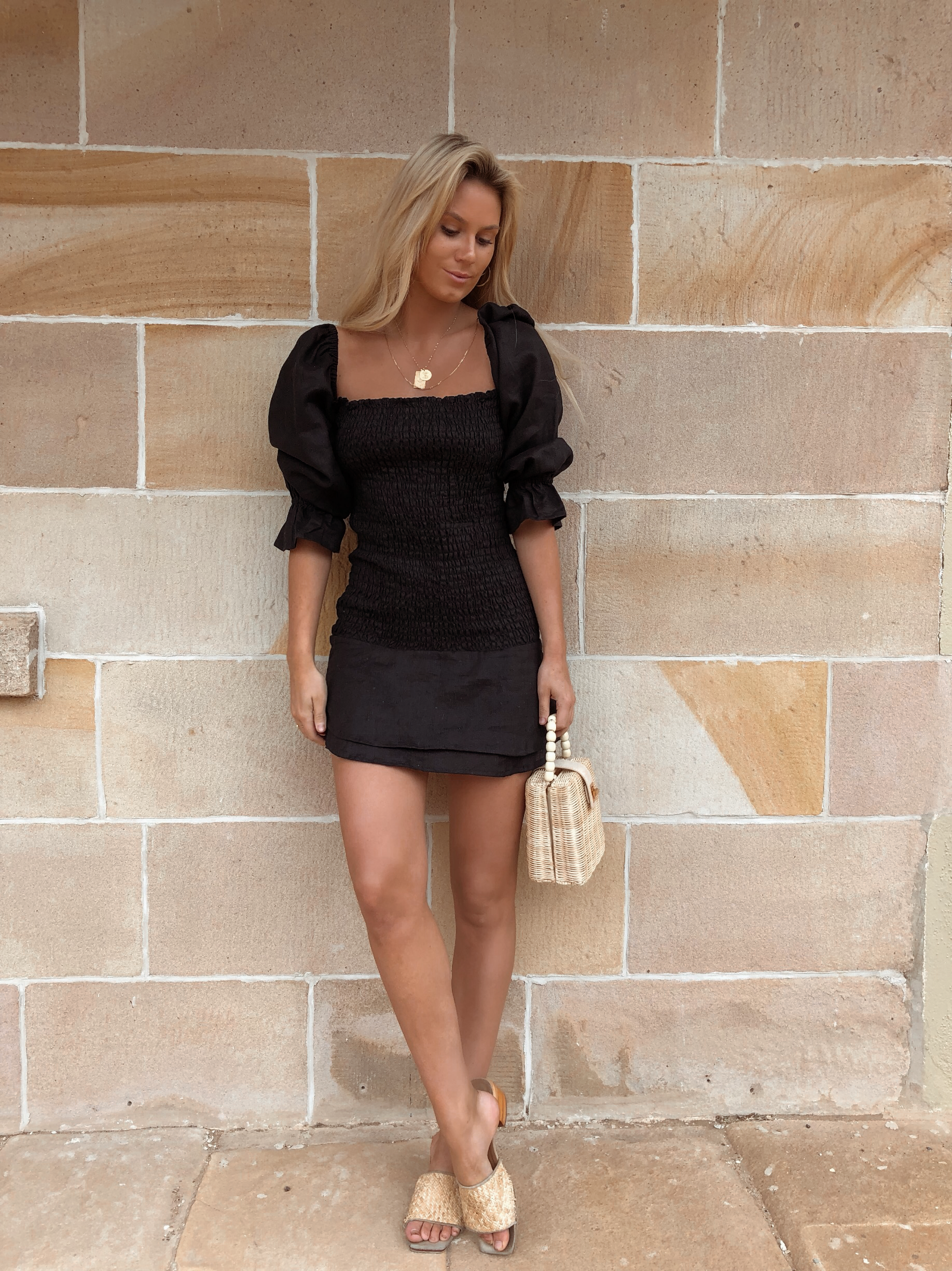 The Valetta Mini Dress in Caviar