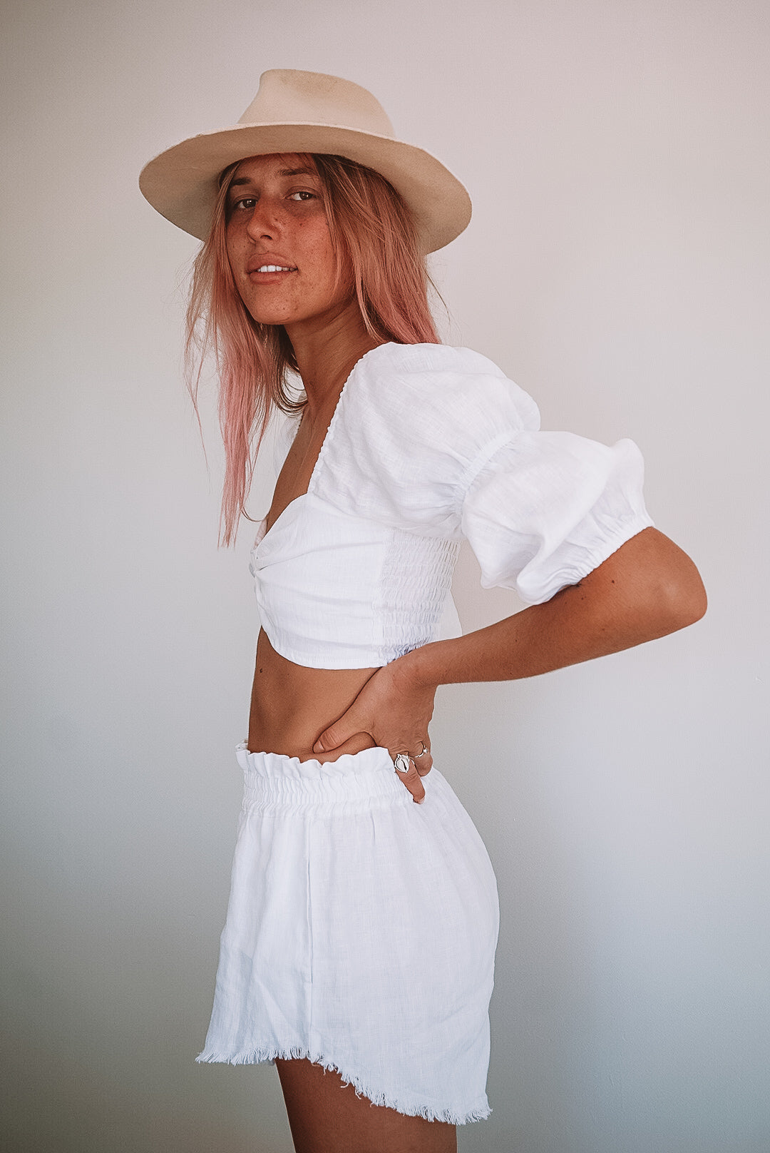 The Peasant Top in Crisp White