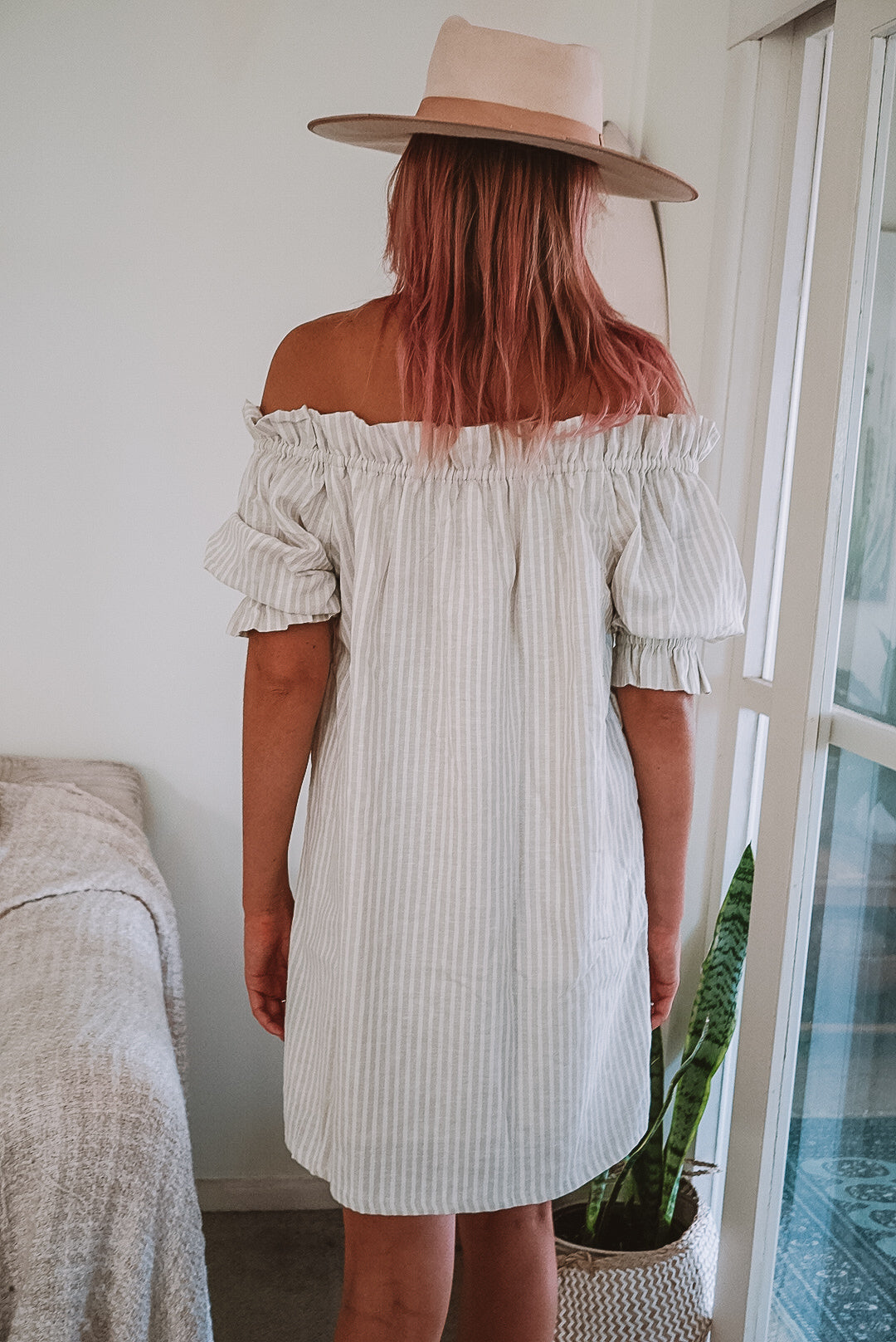 The Winnie Dress in Nude Sailor Stripe