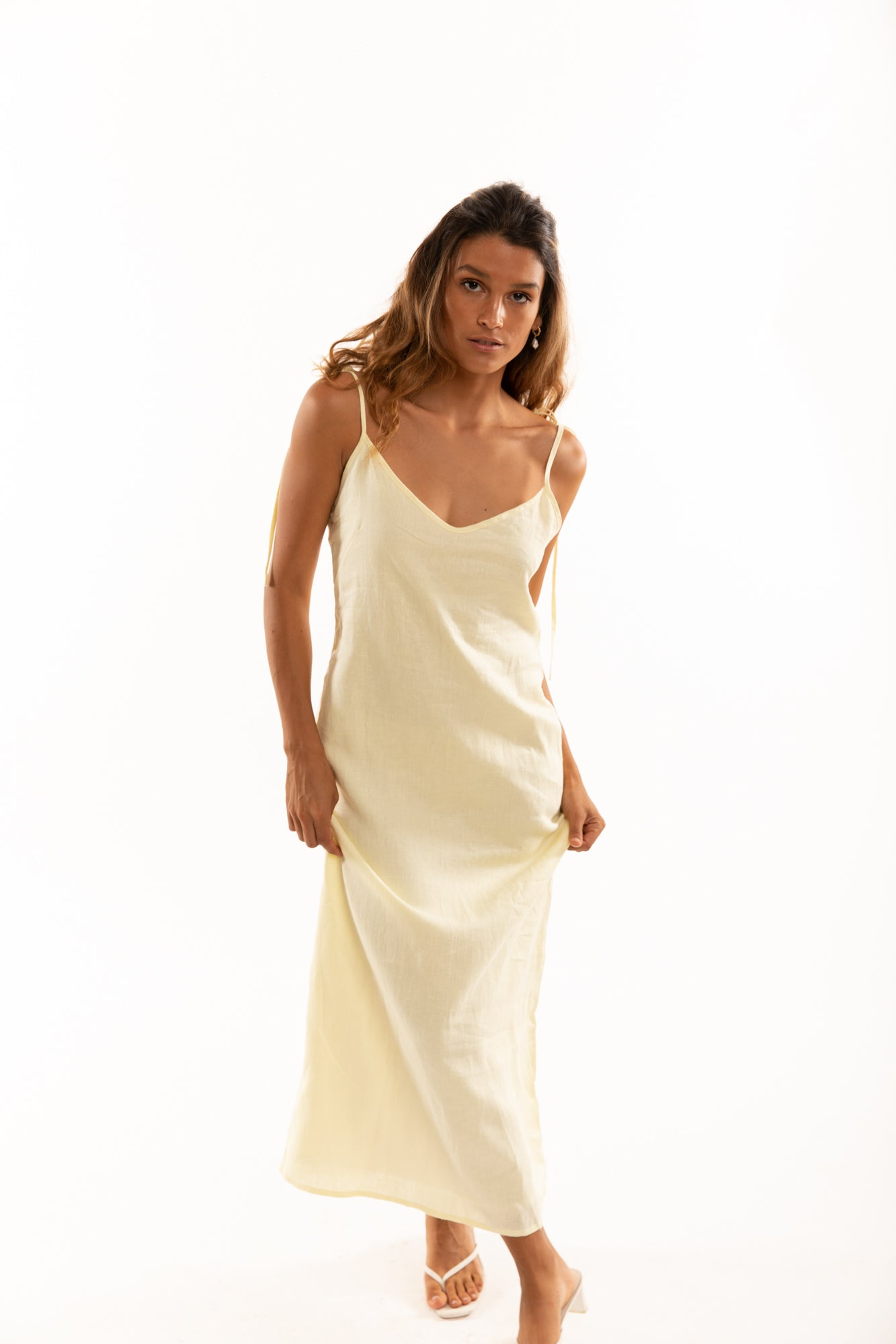 The Isabel Slip Dress in Lemon