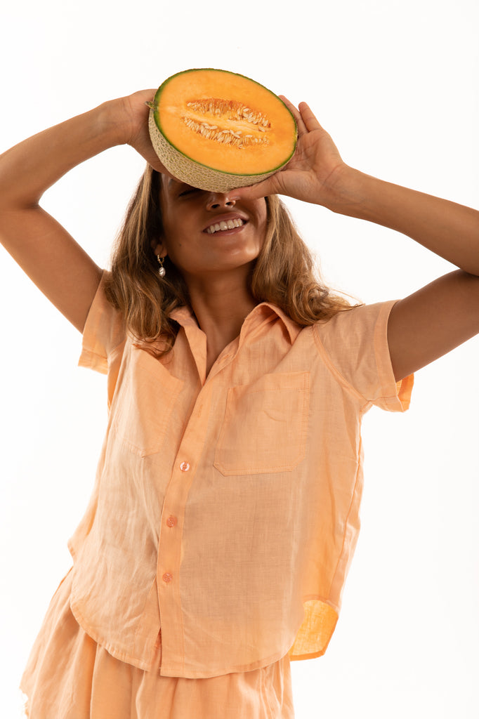 The Bodhi Blouse in Grapefruit