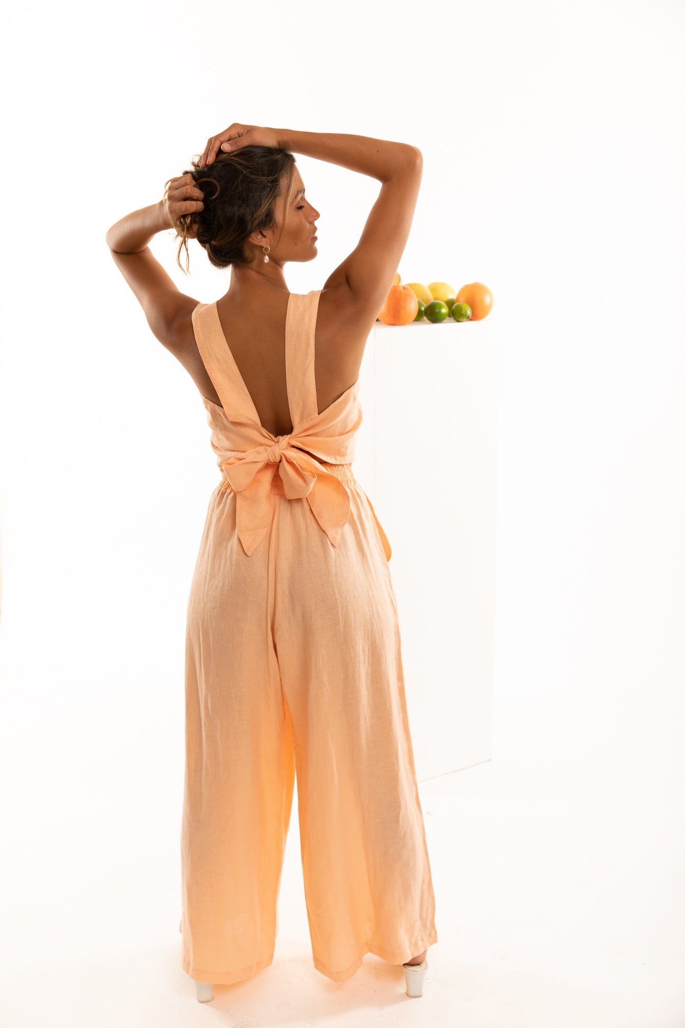 The Zephyr Linen Pants in Grapefruit