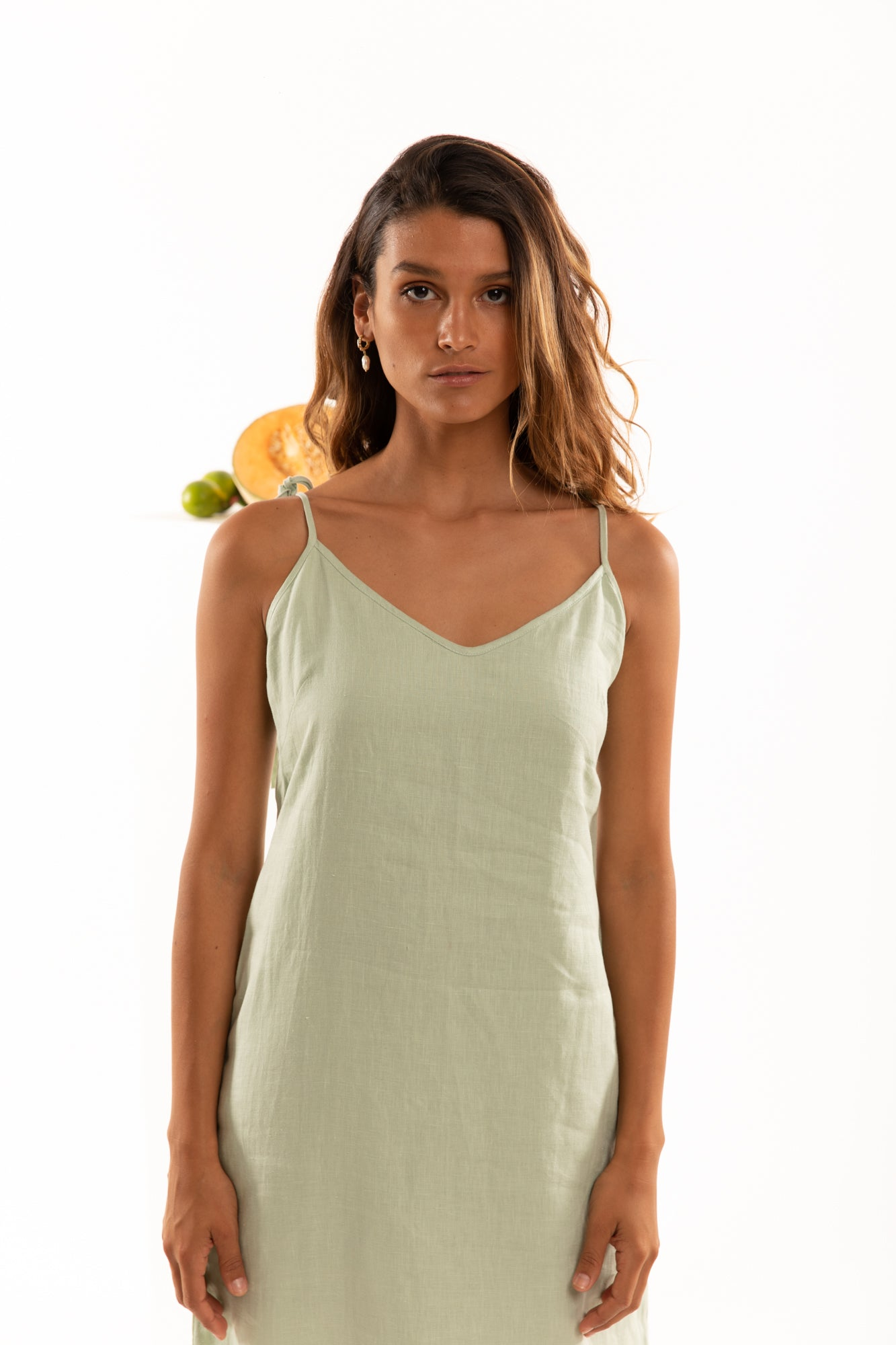 The Isabel Slip Dress in Lime