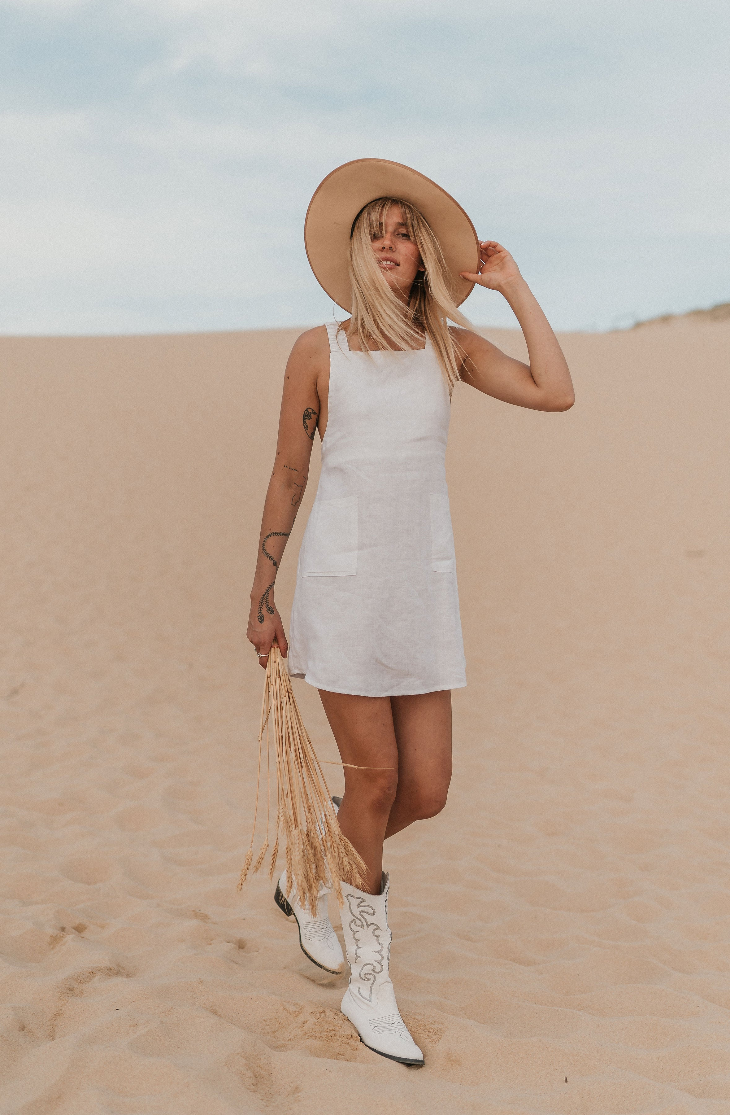 The Harper Pinafore in Crisp White
