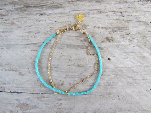Gold chain and glass bead bracelet