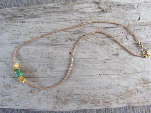 Jade nugget glass bead necklace