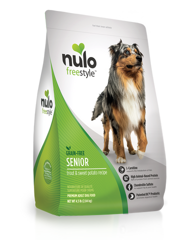 High-Meat Grain-free Senior Trout & Sweet Potato dry kibble for dogs