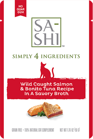 Wild Caught Salmon & Bonita Tuna Recipe in a Wholesome Broth 1.76oz. Pouch for cats (8 pouches to a box) - PetProductDelivery.com