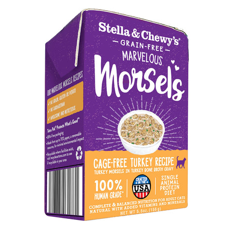 Marvelous Morsels Cage-Free Turkey Wet Food for cats / case of 12 - 5.5oz. tetra packs - PetProductDelivery.com