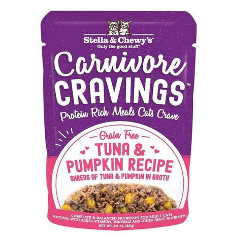 CARNIVORE CRAVINGS TUNA & PUMPKIN RECIPE 2.8oz. pouch / box of 24 - PetProductDelivery.com