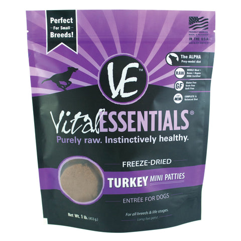 Turkey Mini Patties Freeze-Dried Grain Free Dog Food - PetProductDelivery.com