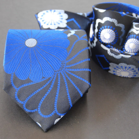 Shibori-Black & Double Blue Silk Tie