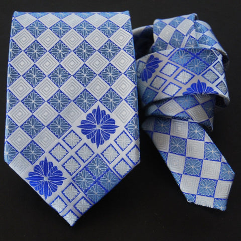 Chrysathemum Diamond-Blue  Silk Tie