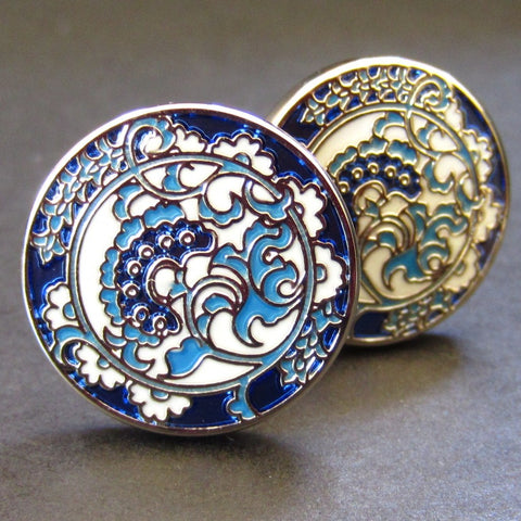 Blue Floral Cuff Link