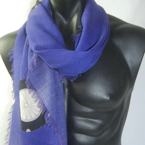 Royal Blue Silk Wool Men's scarf