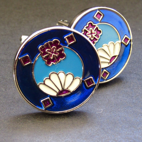 Blue Floral Jewel Cuff Link