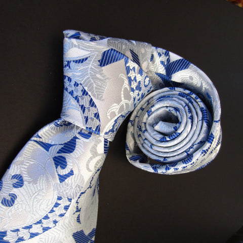 Floral-White & Blue  Silk Tie