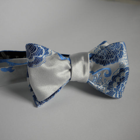 Blue on white bow tie