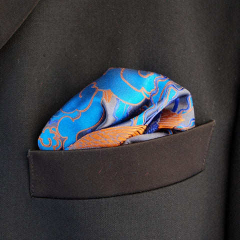 Blue Pheonix Pocket Square