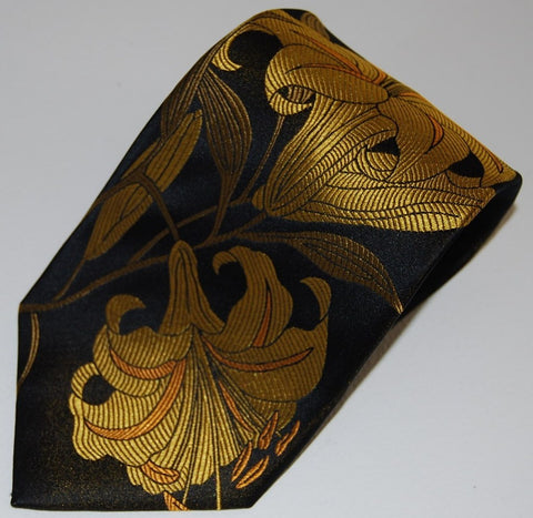 Lilium-Black & Gold  Silk Tie