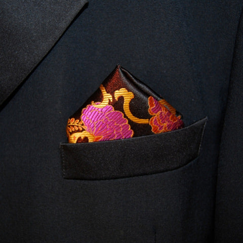 Black Flower Pocket Square