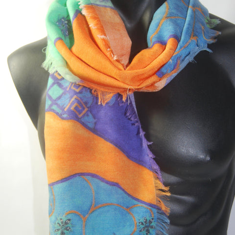 Blue 'Seasons' Silk Wool Men's scarf