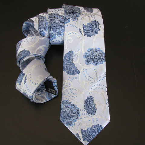 Blue & white Flower silk tie