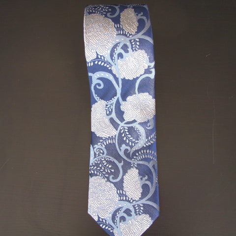 Silver on Navy flower silk tie