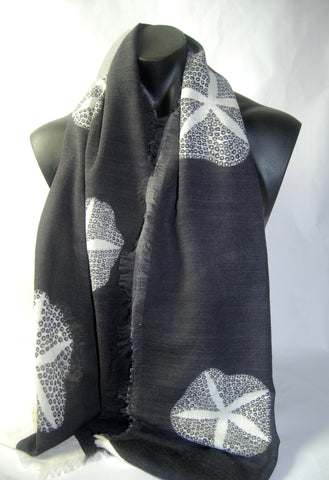 Black Morning Glory Silk Wool Men's scarf