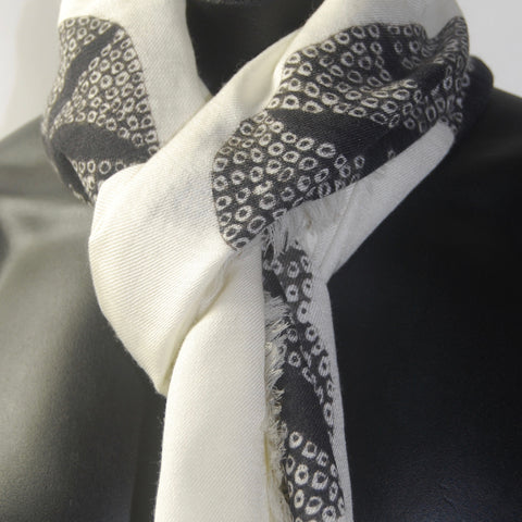 White Morning Glory Silk Wool Men's scarf