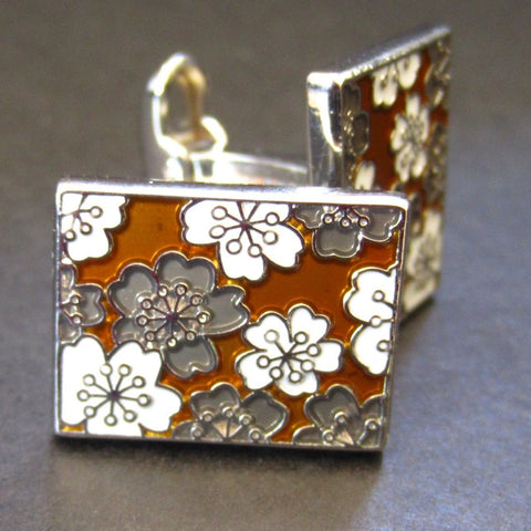 Cherry Blossom Gold Cuff Link