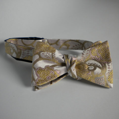 Gold flower bow tie