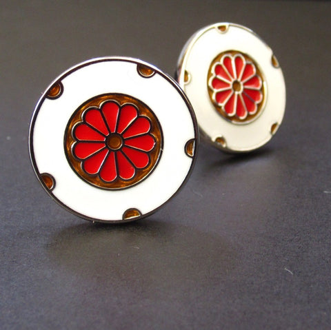 "White Cuff Link ""Red Flower"""
