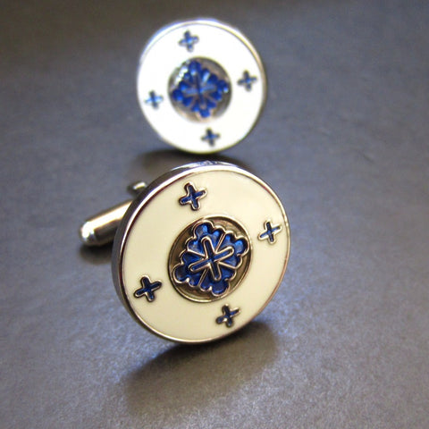 Shield White Blue Cuff Link