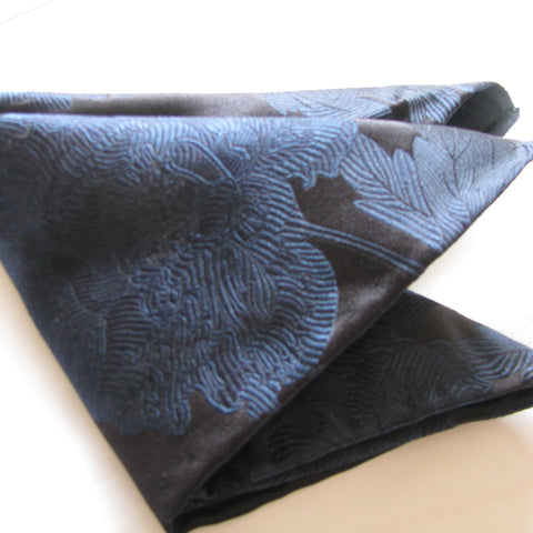 Black Peony pocket square
