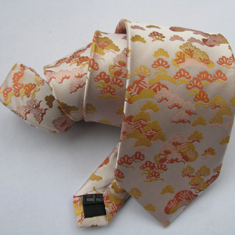 Orange & cream pine  Silk Tie