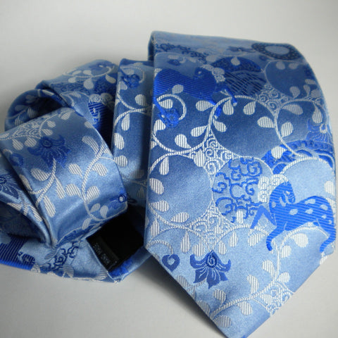 Horse- blues Silk Tie
