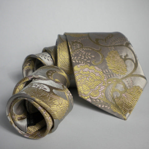Flower-champagne & gold Silk Tie