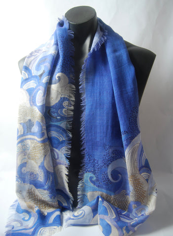 Blue Koi Silk Wool Men's scarf