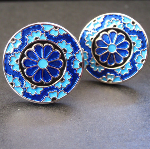 Blue Triple Flower Cuff Link