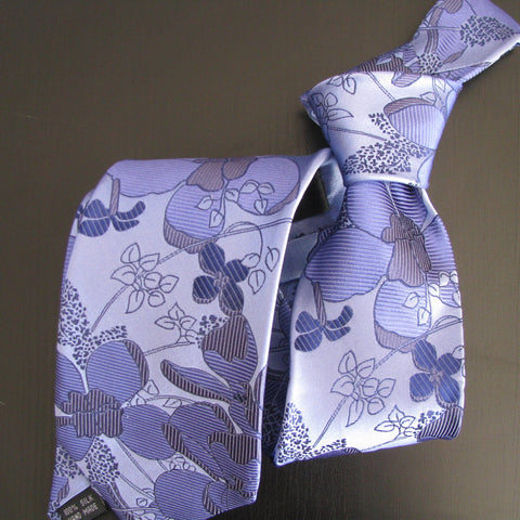 Lilac in shades of blue on palest blue silk tie