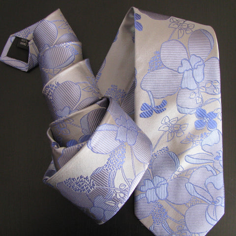 Lilac in shades of blue on silver silk tie
