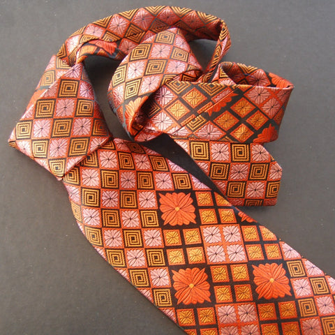 Chrysathemum Diamond-Orange & Pink  Silk Tie