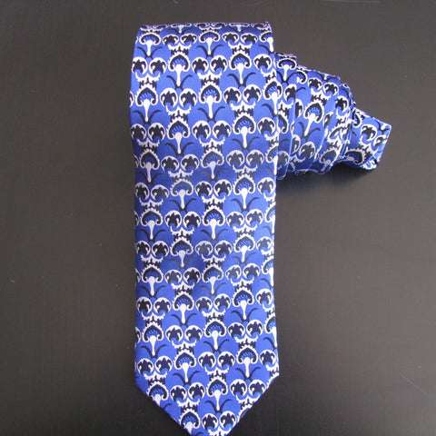 Black on blue Ottoman Design silk tie