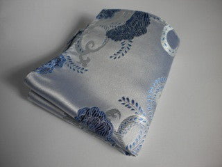 Blue on white flower pocket square
