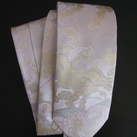 Pheonix-Silver & gold on pink  Silk Tie