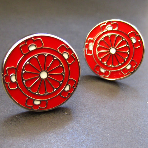 Red Double Flower Cuff Link