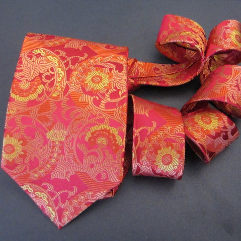 Floral-Red & Gold  Silk Tie