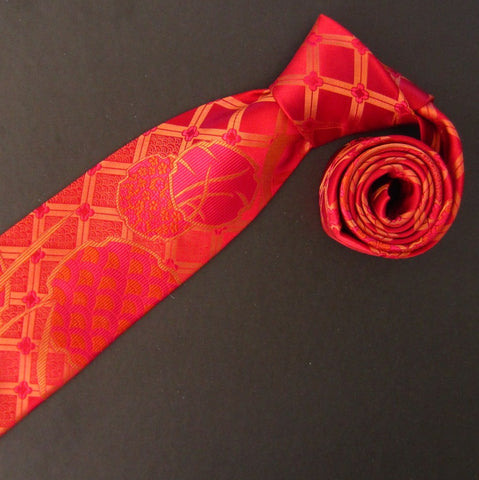 Hydrangea-Red & Gold  Silk Tie